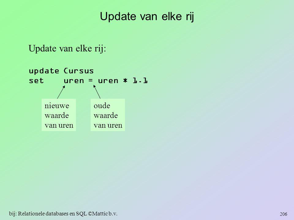 Update van elke rij Update van elke rij: update Cursus set uren = uren * 1.1 nieuwe waarde van uren oude waarde van uren 206 bij: Relationele database