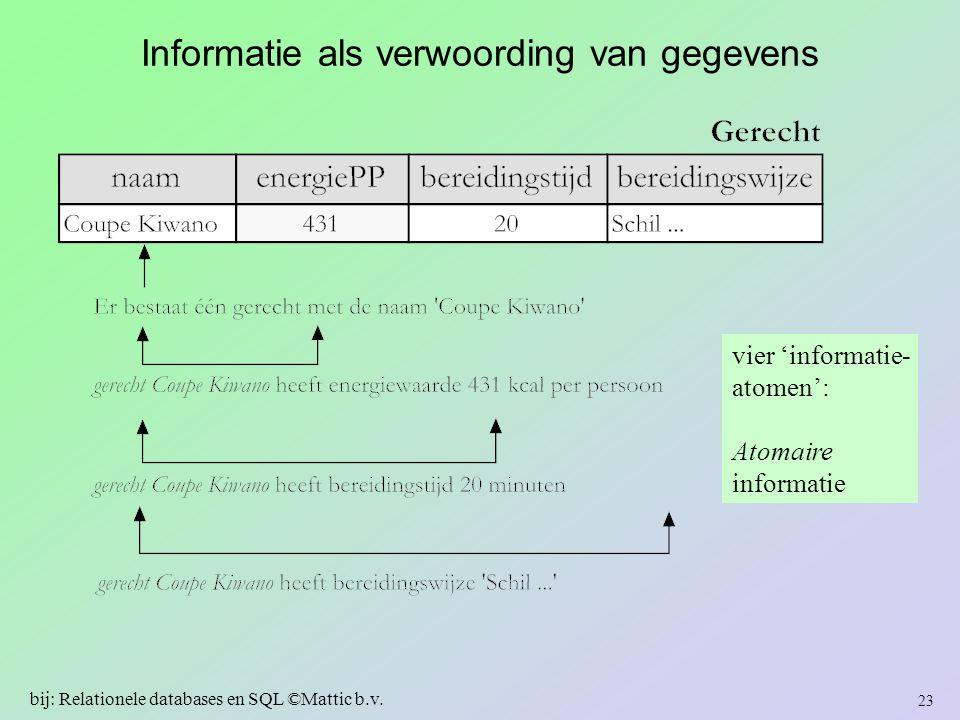 Informatie als verwoording van gegevens vier 'informatie- atomen': Atomaire informatie 23 bij: Relationele databases en SQL ©Mattic b.v.
