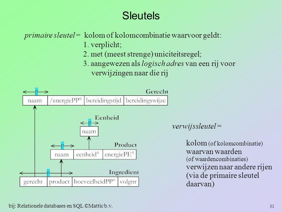 Sleutels primaire sleutel = kolom of kolomcombinatie waarvoor geldt: 1. verplicht; 2. met (meest strenge) uniciteitsregel; 3. aangewezen als logisch a