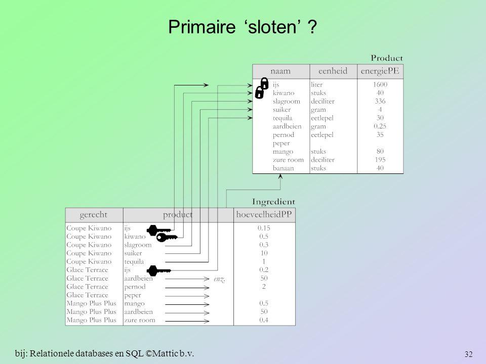 Primaire 'sloten' ? 32 bij: Relationele databases en SQL ©Mattic b.v.
