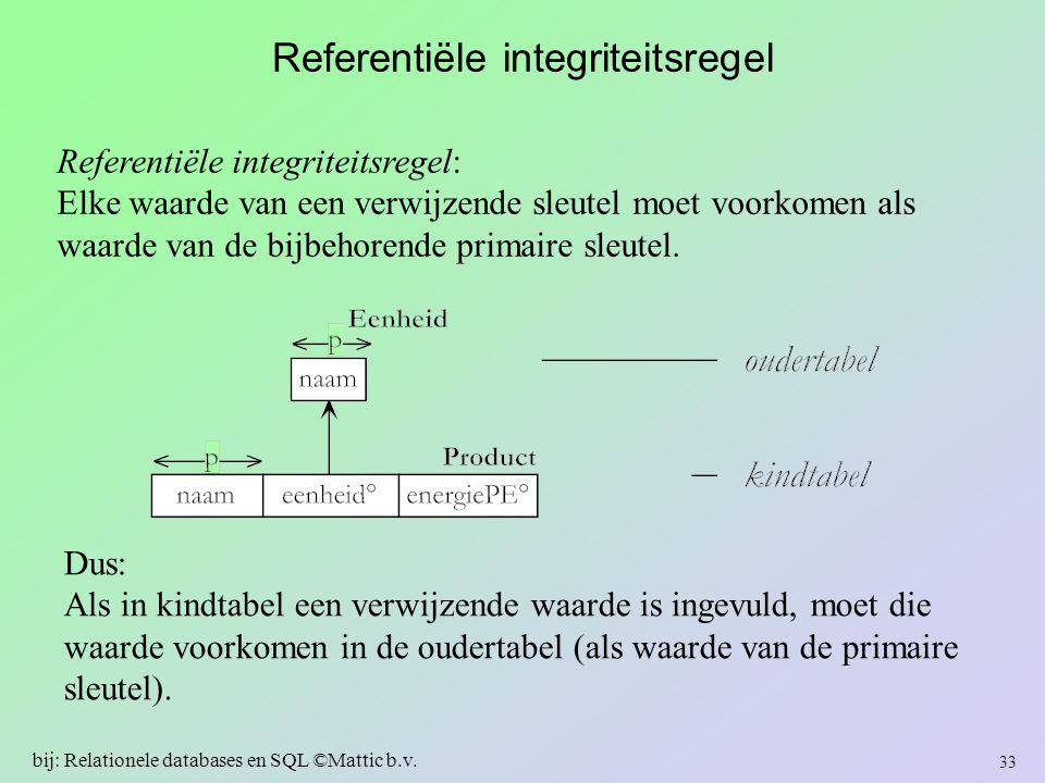 Referentiële integriteitsregel Referentiële integriteitsregel: Elke waarde van een verwijzende sleutel moet voorkomen als waarde van de bijbehorende p