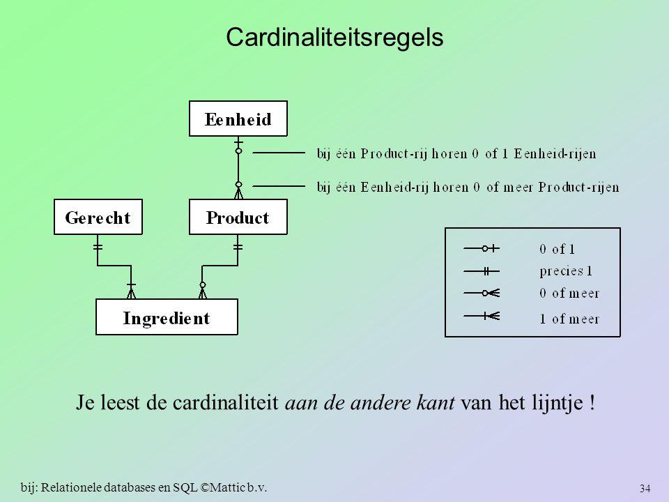 Cardinaliteitsregels Je leest de cardinaliteit aan de andere kant van het lijntje ! 34 bij: Relationele databases en SQL ©Mattic b.v.