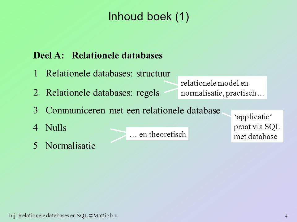 Inhoud boek (2) 6 Informatie uit één tabel 7 Informatie uit meerdere tabellen: joins 8 Statistische informatie 9 Subselects en views 10 Wijzigen van een database-inhoud Deel B: Relationele databases bevragen en wijzigen subtaal SQL-DML (Data Manipulation Language) 5 bij: Relationele databases en SQL ©Mattic b.v.