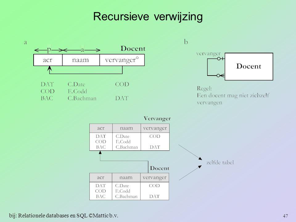 Recursieve verwijzing 47 bij: Relationele databases en SQL ©Mattic b.v.