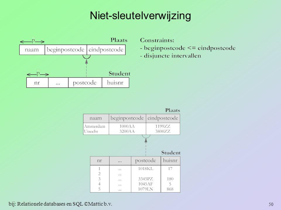 Niet-sleutelverwijzing 50 bij: Relationele databases en SQL ©Mattic b.v.