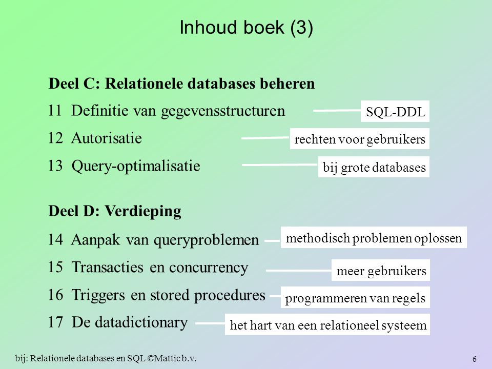 In dit hoofdstuk … subselects als oplossing van deelproblemen –subselect in: … where-clausule … select-clausule … from-clausule … having-clausule (zie boek) gecorreleerde en niet-gecorreleerde subselects subselects en joins: navigatie via subselect(s) gecorreleerde subselects –… met (not) exists geneste subselects views als oplossing van deelproblemen 177 bij: Relationele databases en SQL ©Mattic b.v.