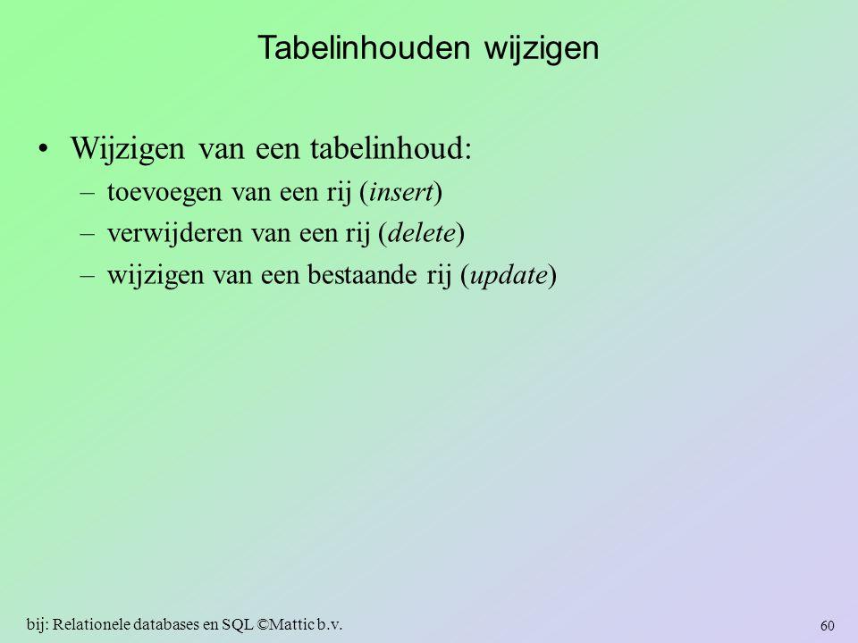 Tabelinhouden wijzigen Wijzigen van een tabelinhoud: –toevoegen van een rij (insert) –verwijderen van een rij (delete) –wijzigen van een bestaande rij