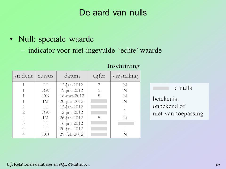 De aard van nulls Null: speciale waarde –indicator voor niet-ingevulde 'echte' waarde 69 bij: Relationele databases en SQL ©Mattic b.v.