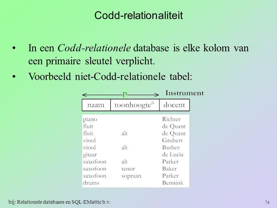 Codd-relationaliteit In een Codd-relationele database is elke kolom van een primaire sleutel verplicht. Voorbeeld niet-Codd-relationele tabel: 74 bij: