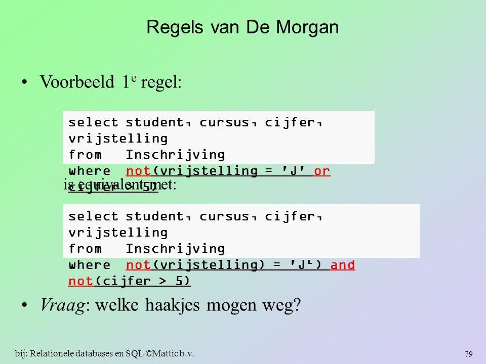 Regels van De Morgan Voorbeeld 1 e regel: is equivalent met: Vraag: welke haakjes mogen weg? select student, cursus, cijfer, vrijstelling from Inschri
