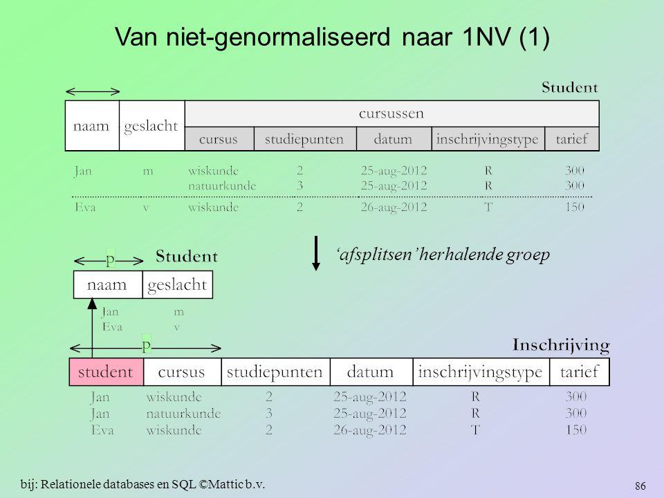 Van niet-genormaliseerd naar 1NV (1) 'afsplitsen' herhalende groep 86 bij: Relationele databases en SQL ©Mattic b.v.