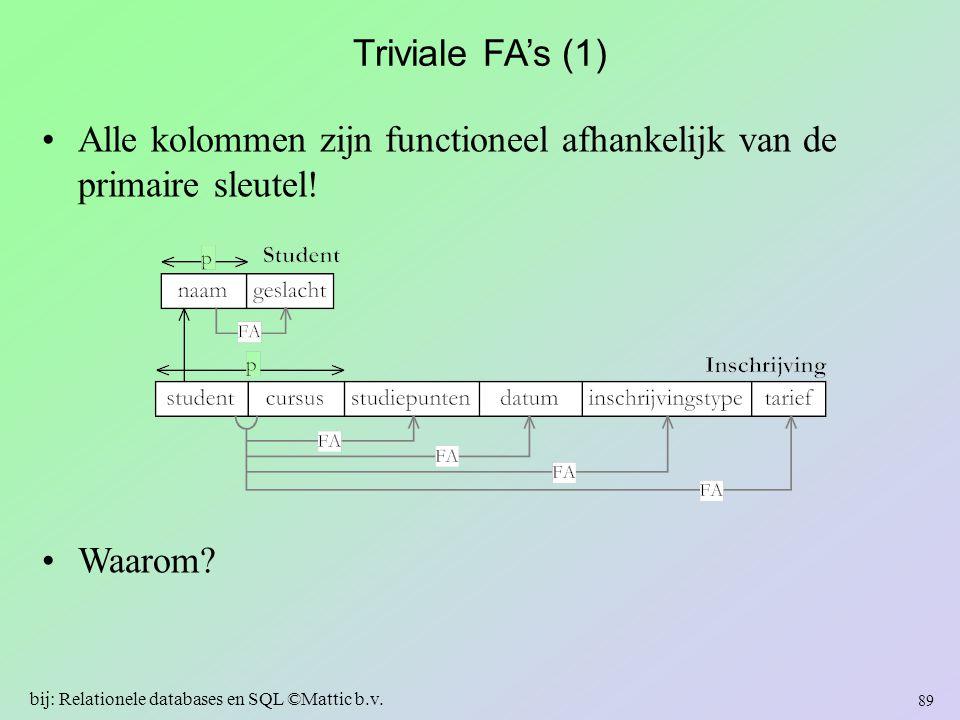 Triviale FA's (1) Alle kolommen zijn functioneel afhankelijk van de primaire sleutel! Waarom? 89 bij: Relationele databases en SQL ©Mattic b.v.