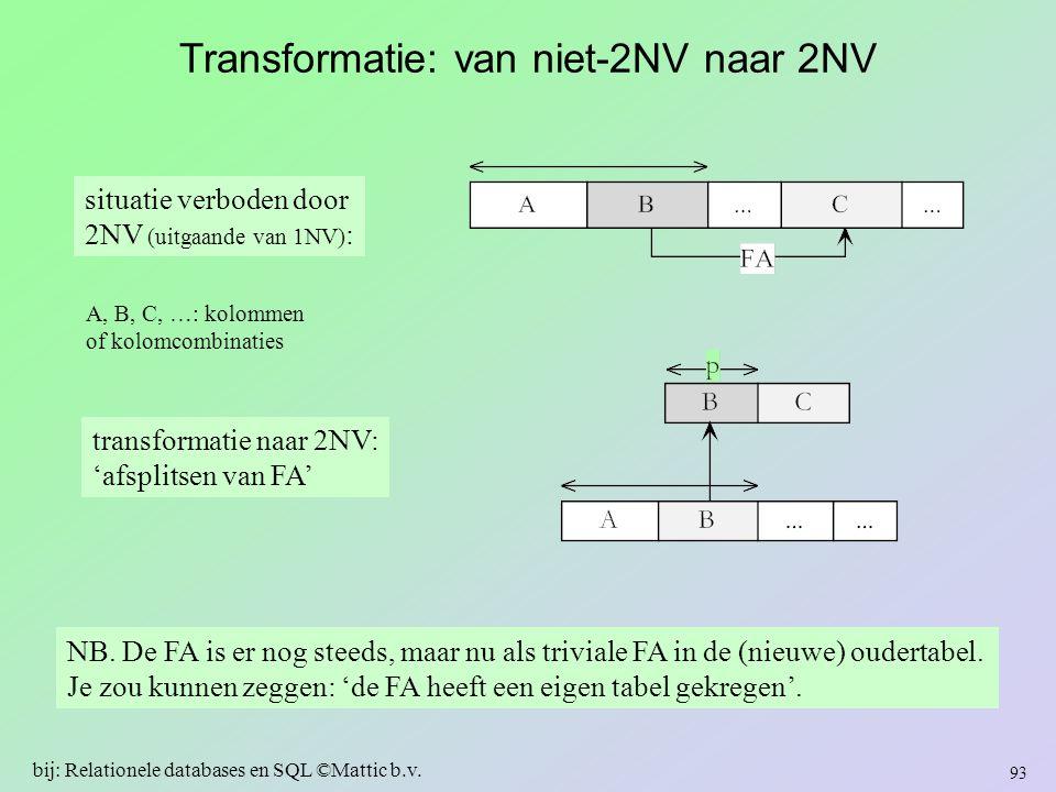 Transformatie: van niet-2NV naar 2NV 93 bij: Relationele databases en SQL ©Mattic b.v. situatie verboden door 2NV (uitgaande van 1NV) : transformatie