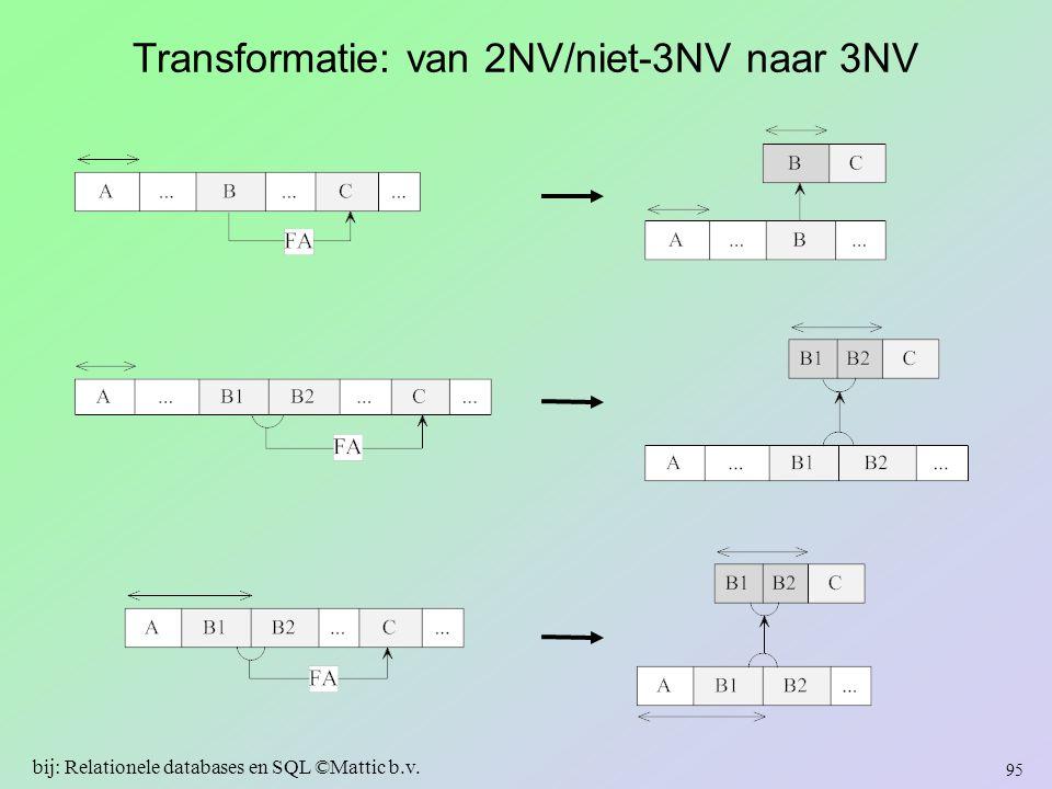 Transformatie: van 2NV/niet-3NV naar 3NV 95 bij: Relationele databases en SQL ©Mattic b.v.