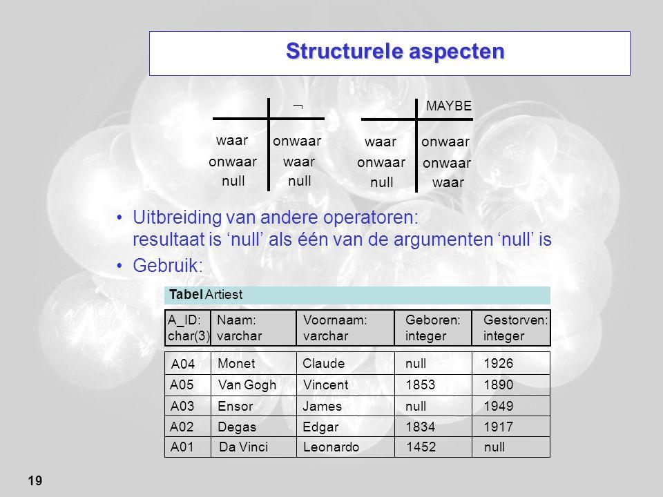 19 Structurele aspecten Uitbreiding van andere operatoren: resultaat is 'null' als één van de argumenten 'null' is Gebruik: onwaar waar  onwaar null