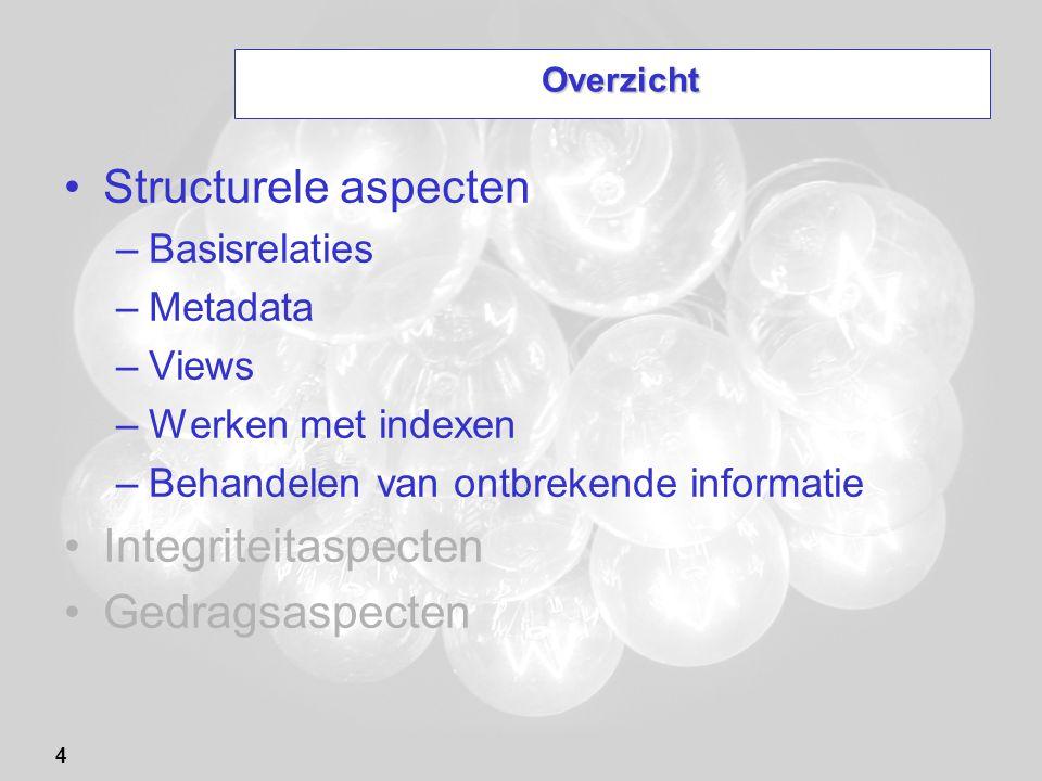 4 Overzicht Structurele aspecten –Basisrelaties –Metadata –Views –Werken met indexen –Behandelen van ontbrekende informatie Integriteitaspecten Gedrag