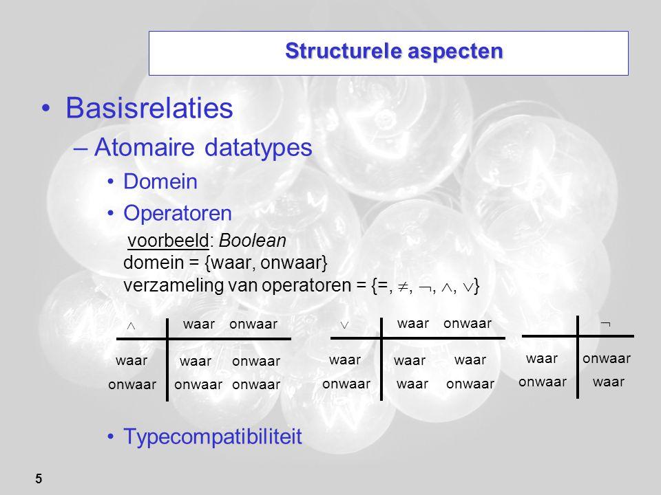 5 Structurele aspecten Basisrelaties –Atomaire datatypes Domein Operatoren voorbeeld: Boolean domein = {waar, onwaar} verzameling van operatoren = {=,