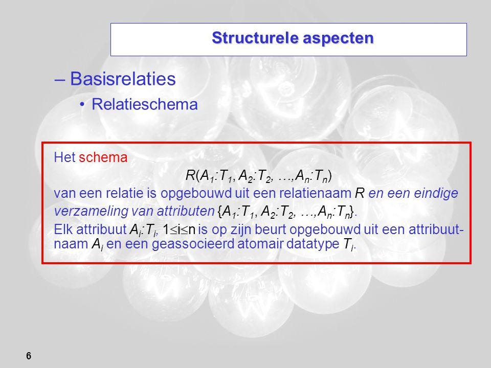 6 Structurele aspecten –Basisrelaties Relatieschema Het schema R(A 1 :T 1, A 2 :T 2, …,A n :T n ) van een relatie is opgebouwd uit een relatienaam R e