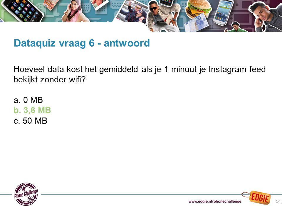 14 Hoeveel data kost het gemiddeld als je 1 minuut je Instagram feed bekijkt zonder wifi? a. 0 MB b. 3,6 MB c. 50 MB Dataquiz vraag 6 - antwoord 14
