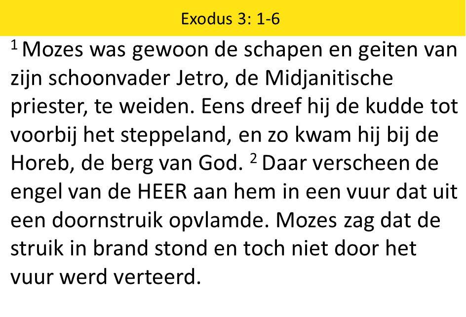Exodus 3: 1-6 1 Mozes was gewoon de schapen en geiten van zijn schoonvader Jetro, de Midjanitische priester, te weiden. Eens dreef hij de kudde tot vo