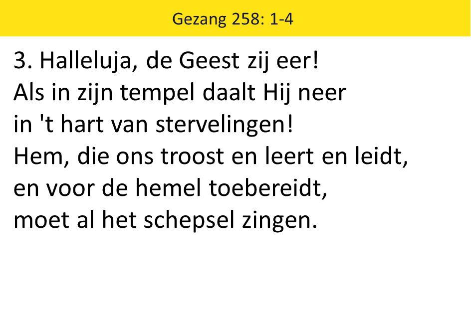 Gezang 258: 1-4 3. Halleluja, de Geest zij eer! Als in zijn tempel daalt Hij neer in 't hart van stervelingen! Hem, die ons troost en leert en leidt,
