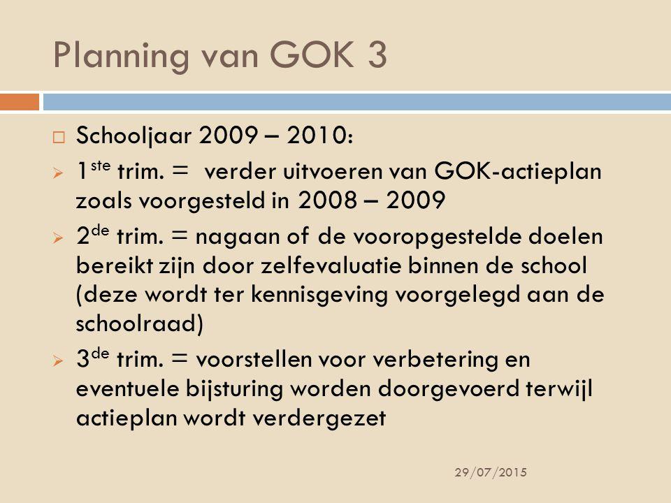 Planning van GOK 3 29/07/2015  Schooljaar 2009 – 2010:  1 ste trim.