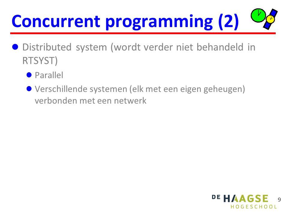 9 Concurrent programming (2) Distributed system (wordt verder niet behandeld in RTSYST) Parallel Verschillende systemen (elk met een eigen geheugen) v
