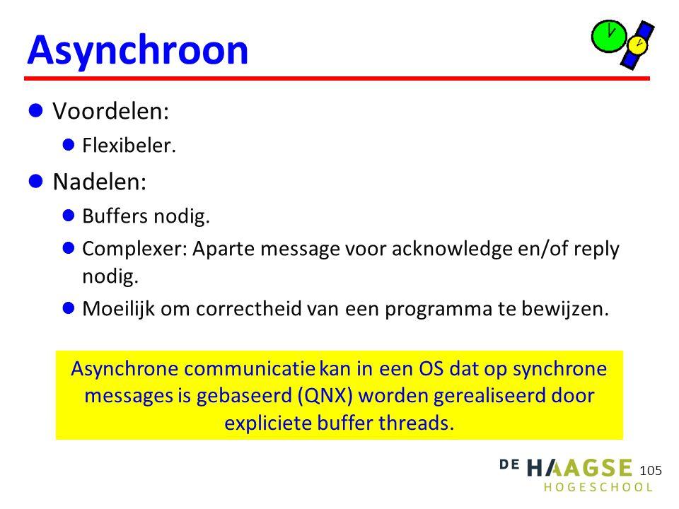 105 Asynchroon Voordelen: Flexibeler. Nadelen: Buffers nodig. Complexer: Aparte message voor acknowledge en/of reply nodig. Moeilijk om correctheid va