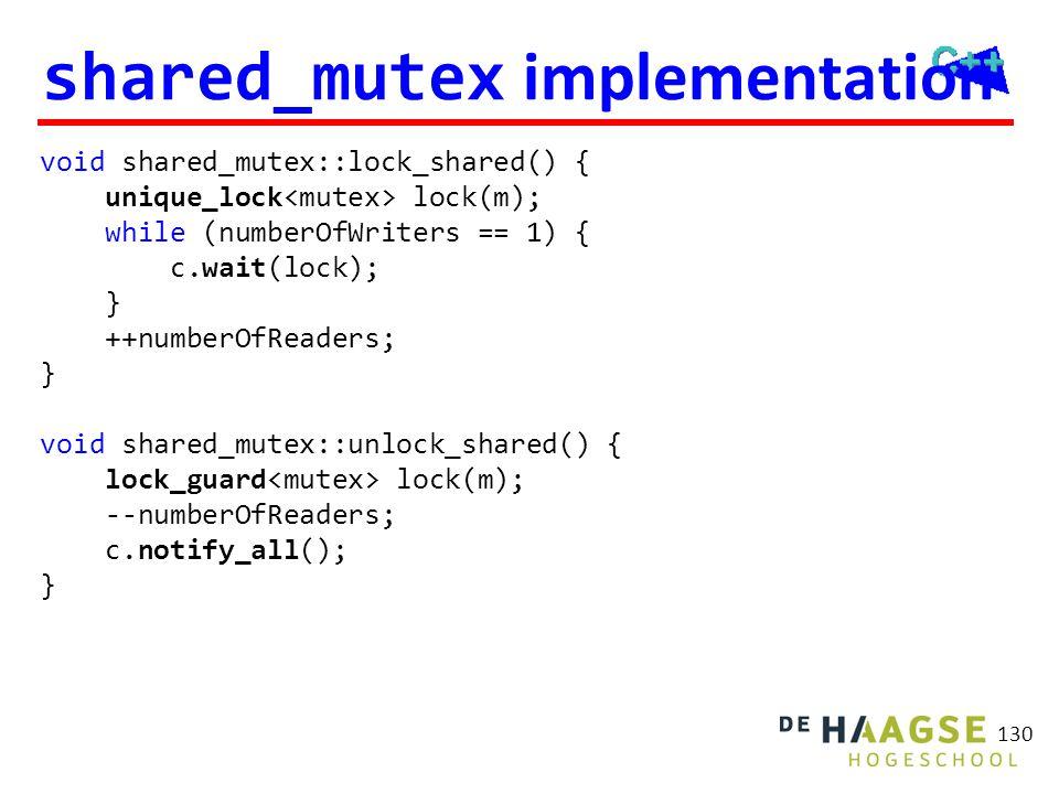 shared_mutex implementation 130 void shared_mutex::lock_shared() { unique_lock lock(m); while (numberOfWriters == 1) { c.wait(lock); } ++numberOfReade
