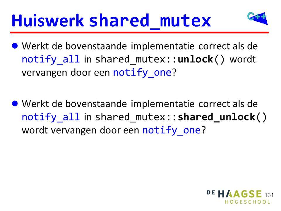 Huiswerk shared_mutex Werkt de bovenstaande implementatie correct als de notify_all in shared_mutex::unlock() wordt vervangen door een notify_one ? We