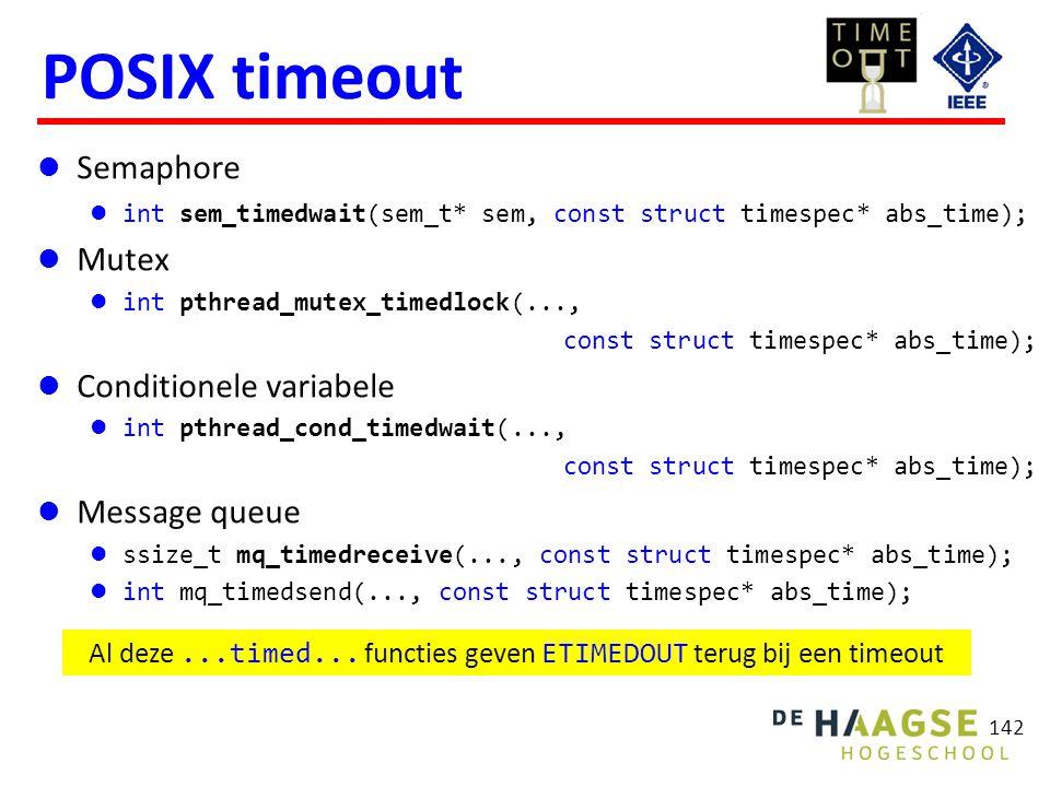 142 POSIX timeout Semaphore int sem_timedwait(sem_t* sem, const struct timespec* abs_time); Mutex int pthread_mutex_timedlock(..., const struct timesp