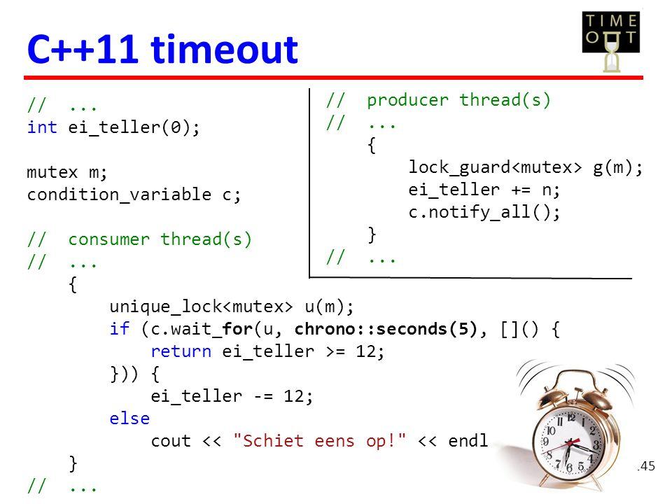 145 //... int ei_teller(0); mutex m; condition_variable c; // consumer thread(s) //... { unique_lock u(m); if (c.wait_for(u, chrono::seconds(5), []()