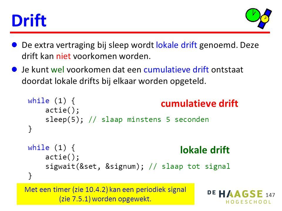 147 Drift De extra vertraging bij sleep wordt lokale drift genoemd. Deze drift kan niet voorkomen worden. Je kunt wel voorkomen dat een cumulatieve dr