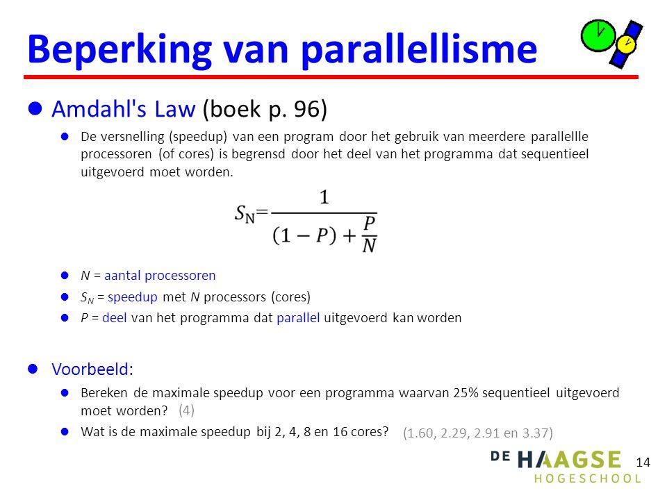 14 Beperking van parallellisme Amdahl's Law (boek p. 96) De versnelling (speedup) van een program door het gebruik van meerdere parallellle processore