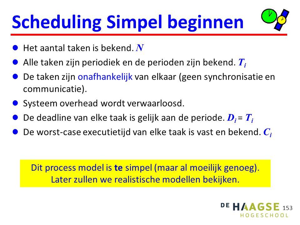 153 Scheduling Simpel beginnen Het aantal taken is bekend. N Alle taken zijn periodiek en de perioden zijn bekend. T i De taken zijn onafhankelijk van