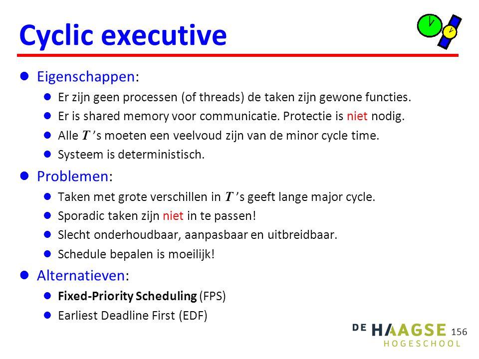 156 Cyclic executive Eigenschappen: Er zijn geen processen (of threads) de taken zijn gewone functies. Er is shared memory voor communicatie. Protecti