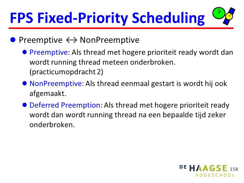 158 FPS Fixed-Priority Scheduling Preemptive ↔ NonPreemptive Preemptive: Als thread met hogere prioriteit ready wordt dan wordt running thread meteen