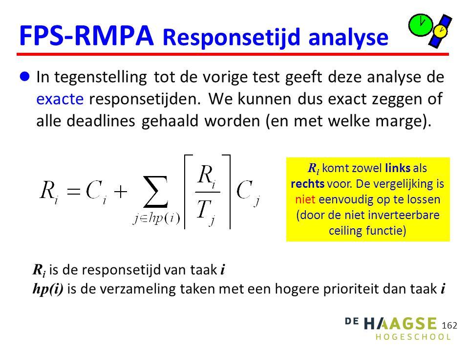 162 FPS-RMPA Responsetijd analyse In tegenstelling tot de vorige test geeft deze analyse de exacte responsetijden. We kunnen dus exact zeggen of alle