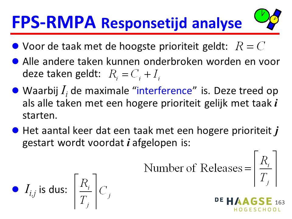 163 FPS-RMPA Responsetijd analyse Voor de taak met de hoogste prioriteit geldt: Alle andere taken kunnen onderbroken worden en voor deze taken geldt: