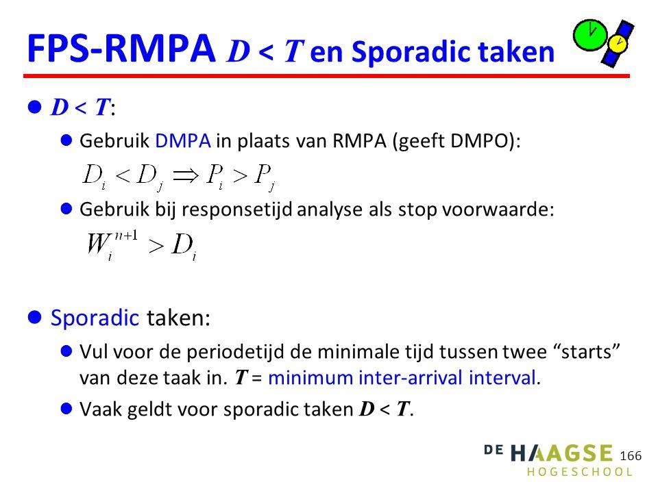 166 FPS-RMPA D < T en Sporadic taken D < T : Gebruik DMPA in plaats van RMPA (geeft DMPO): Gebruik bij responsetijd analyse als stop voorwaarde: Spora