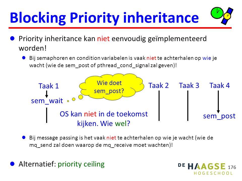 176 Blocking Priority inheritance Priority inheritance kan niet eenvoudig geïmplementeerd worden! Bij semaphoren en condition variabelen is vaak niet