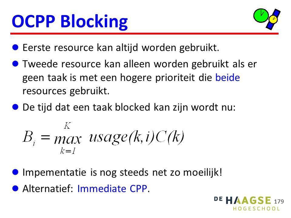 179 OCPP Blocking Eerste resource kan altijd worden gebruikt. Tweede resource kan alleen worden gebruikt als er geen taak is met een hogere prioriteit