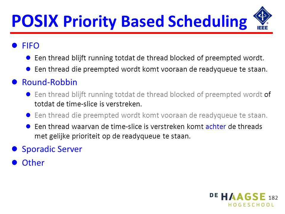 182 POSIX Priority Based Scheduling FIFO Een thread blijft running totdat de thread blocked of preempted wordt. Een thread die preempted wordt komt vo