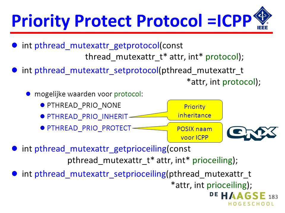183 Priority Protect Protocol =ICPP int pthread_mutexattr_getprotocol(const thread_mutexattr_t* attr, int* protocol); int pthread_mutexattr_setprotoco