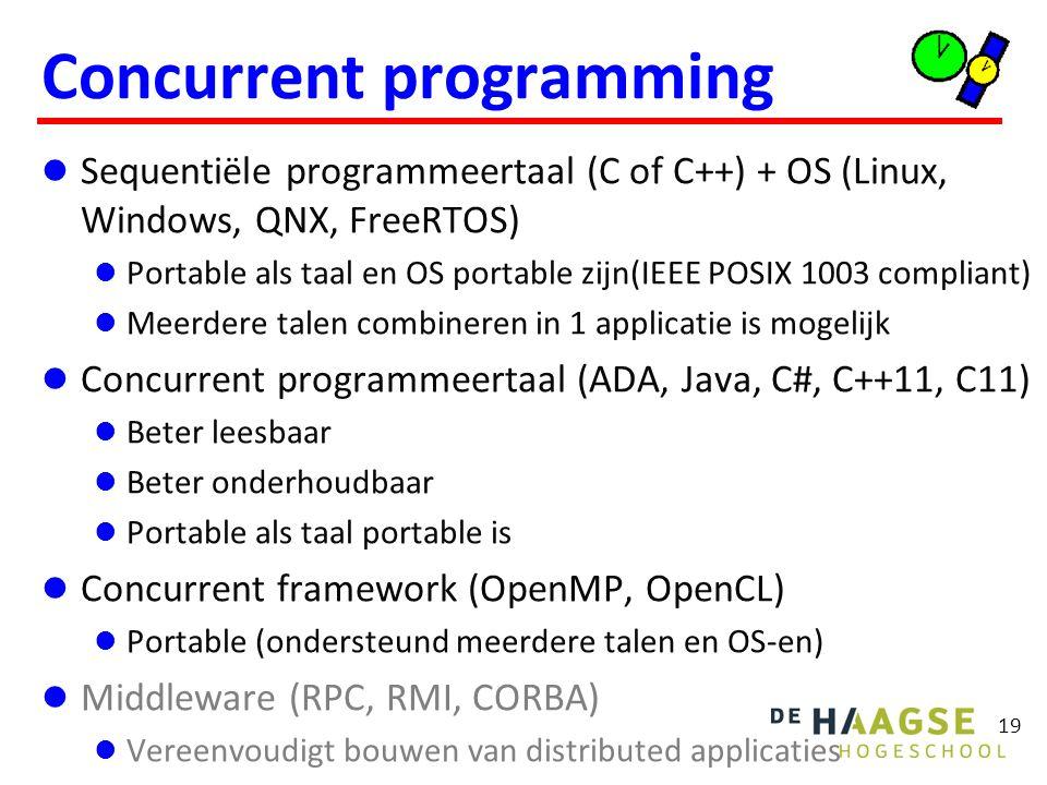 19 Concurrent programming Sequentiële programmeertaal (C of C++) + OS (Linux, Windows, QNX, FreeRTOS) Portable als taal en OS portable zijn(IEEE POSIX