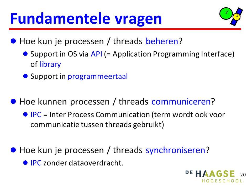 20 Fundamentele vragen Hoe kun je processen / threads beheren? Support in OS via API (= Application Programming Interface) of library Support in progr