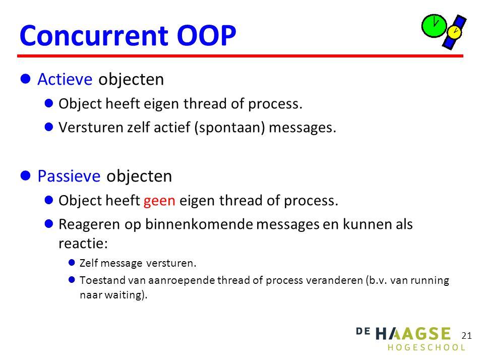 21 Concurrent OOP Actieve objecten Object heeft eigen thread of process. Versturen zelf actief (spontaan) messages. Passieve objecten Object heeft gee