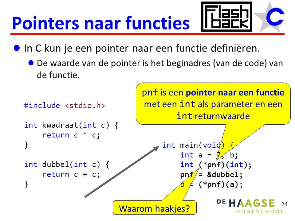 Waarom haakjes? pnf is een pointer naar een functie met een int als parameter en een int returnwaarde In C kun je een pointer naar een functie definië