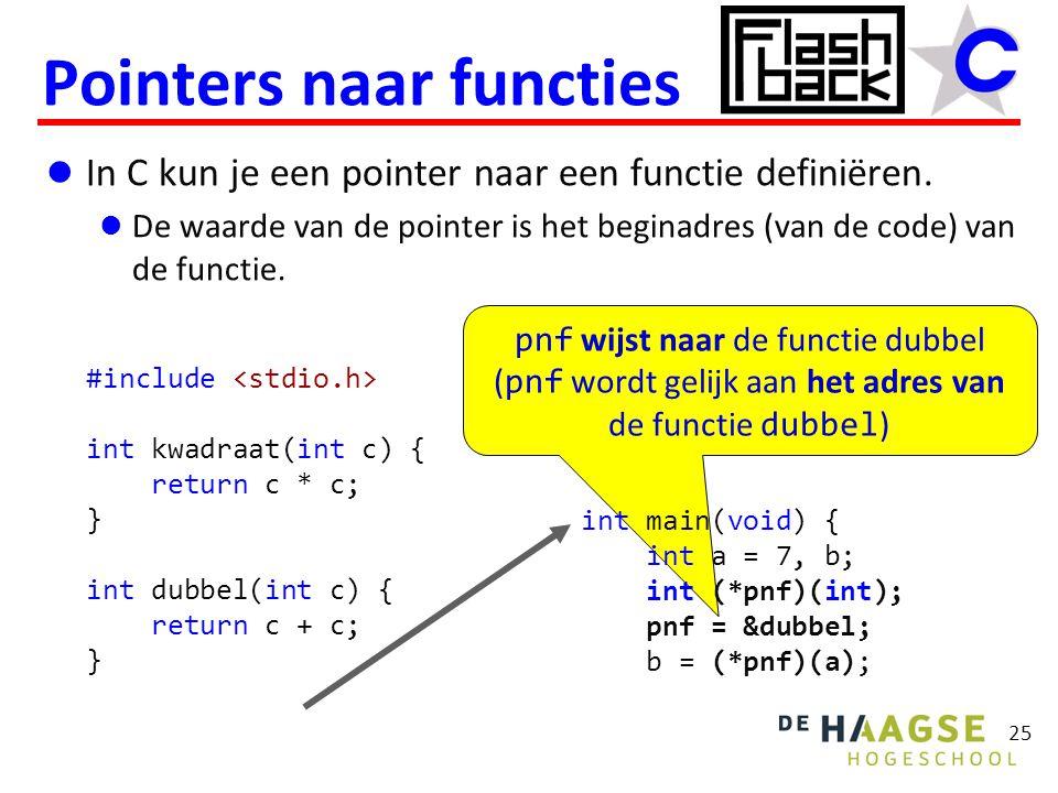 pnf wijst naar de functie dubbel ( pnf wordt gelijk aan het adres van de functie dubbel ) In C kun je een pointer naar een functie definiëren. De waar