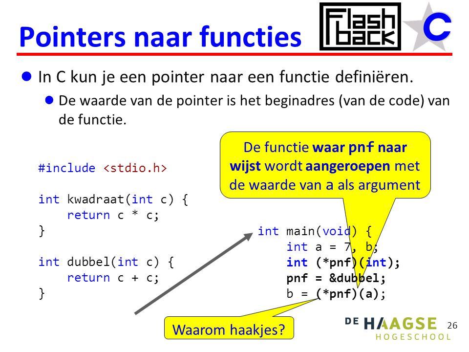 De functie waar pnf naar wijst wordt aangeroepen met de waarde van a als argument In C kun je een pointer naar een functie definiëren. De waarde van d